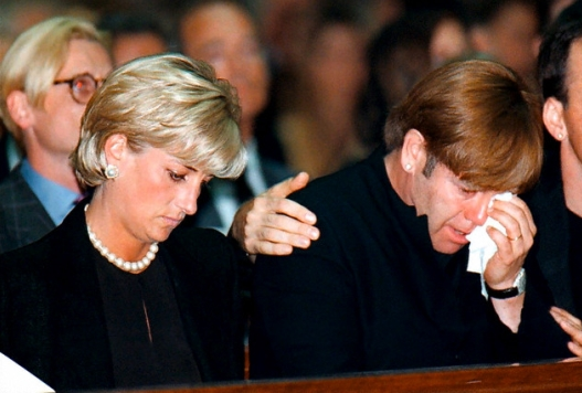 Princess Diana and Elton John at Gianni Versace's funeral in 1997  (Courtesy of Gevril Group)