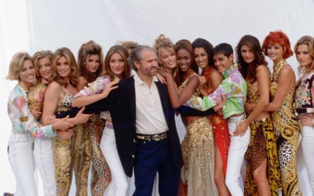 Gianni Versace and His Super Models in Milan, 1991(Courtesy of Vittoriano Rastelli/Getty)