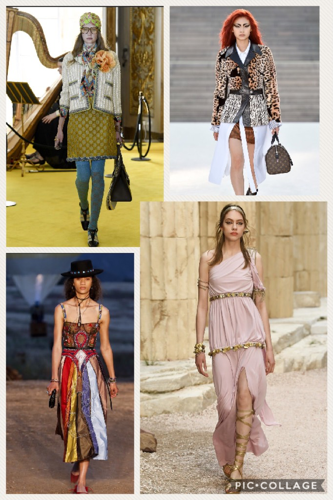 Clockwise from upper left hand corner: Gucci, Louis Vuitton, Chanel, and Christian Dior (All photos courtesy of Vogue.com)