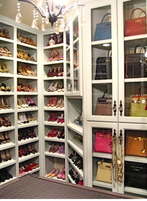 Walk in Closet filled with designer shoes and bags (Courtesy of Pintrest)