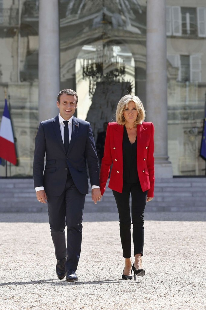 Brigitte Macron in a sharp tailored blazer, 2017 (Photo courtesy of Vogue.com)