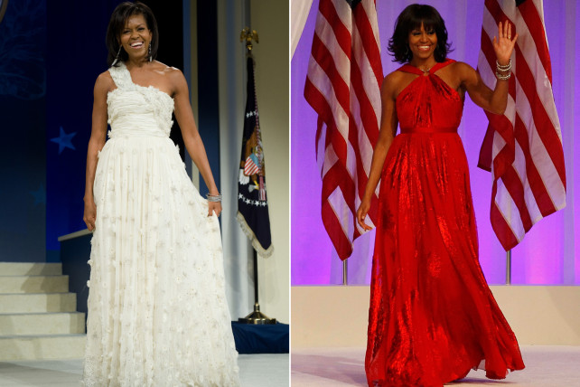 Michelle Obama in Jason Wu for both Inauguration nights - left: 2009, right: 2013 (Photo courtesy of Getty Images)