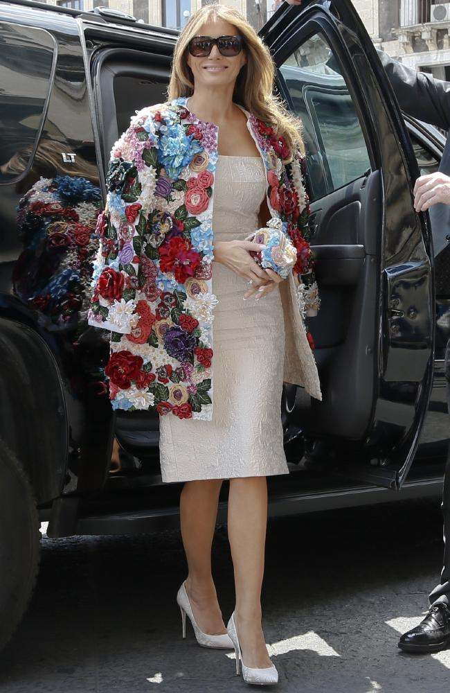 Melania Trump caused controversy when wearing a Dolce & Gabbana coat that coast nearly $70K in Scilily, Italy in 2017 (Photo courtesy of AP/Domenico Stinellis)