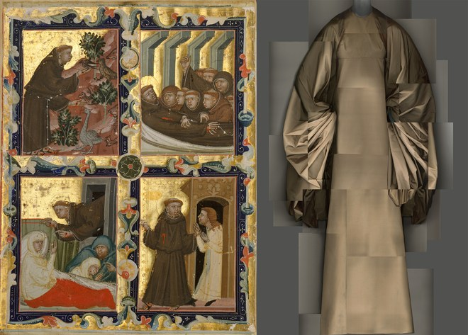 Left: Manuscript Leaf With Scenes From the Life of Saint Francis of Assisi, Italian, c. 1320–42, tempera and gold on parchment; right, Evening Dress, Madame Grès, 1969 (Image courtesy of The Metropolitan Museum of Art)