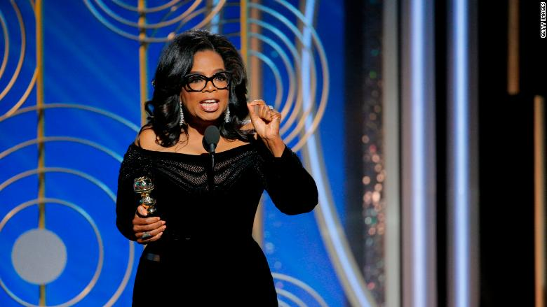 Oprah Winfrey  giving her Cecil B DeMille Award