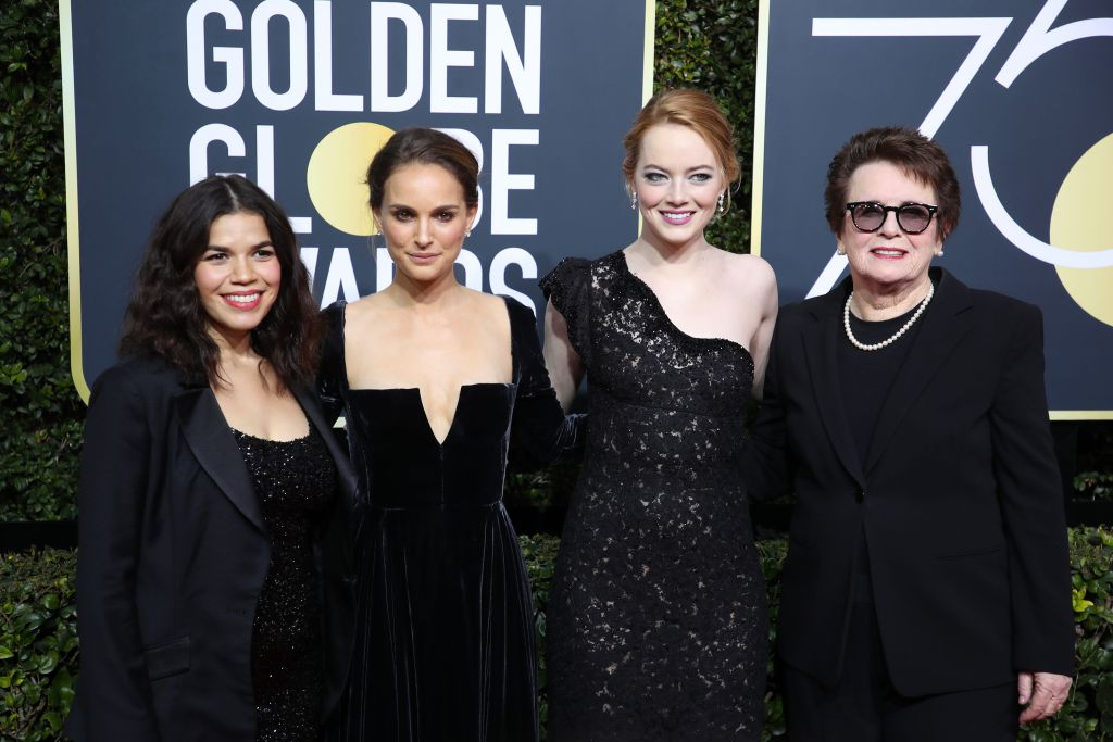 America Ferrera in custom Christian Siriano, Natalie Portman in Dior Haute Couture, Emma Stone in Louis Vuitton and Billie Jean King