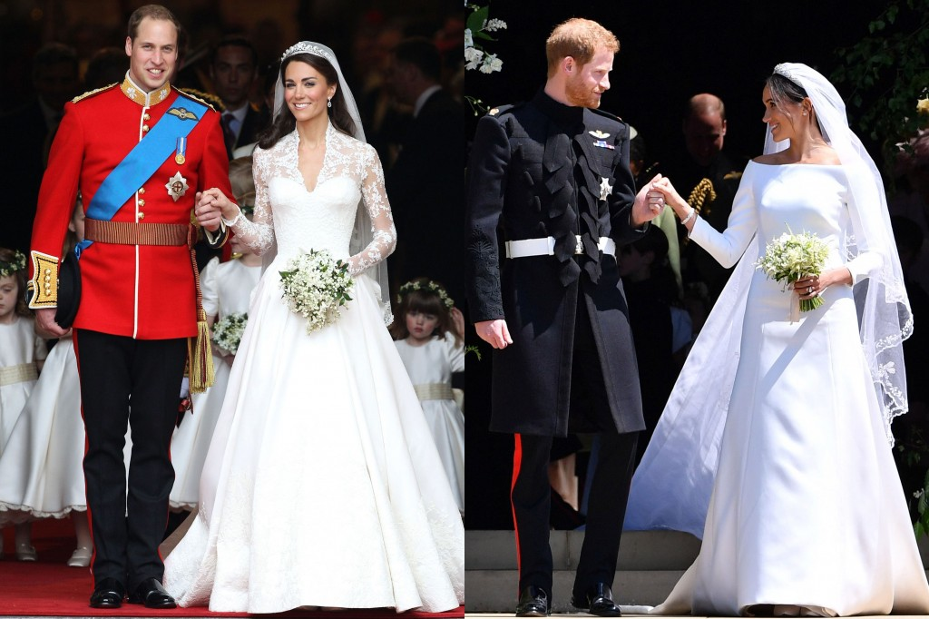 Left: Kate Middleton in Alexander McQueen Righ: Meghan Markle in Givenchy Couture