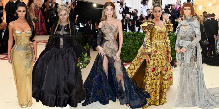 Left to right: Kim Kardashian in Versace, Madonna in Jean Paul Gaultier, Gigi Hadid in Versace, Sarah Jessica Parker in Dolce & Gabbana, and Zendaya in Versace (Photo courtesy of Cosmopolitan.com)