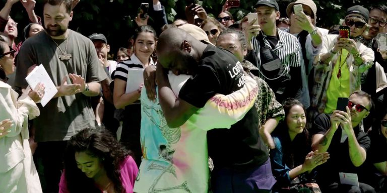 Kanye West and Virgil Abloh cried at the end of his Louis Vuitton show (Photo courtesy of Harpers Bazaar)