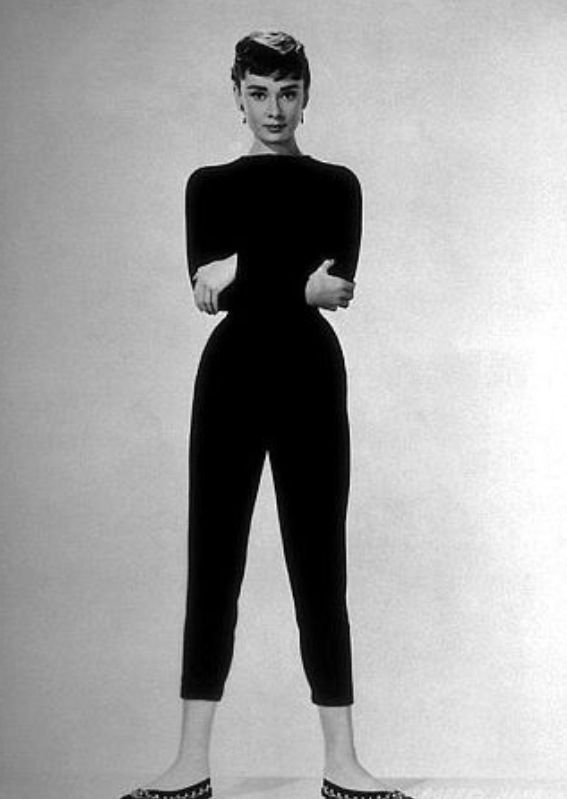 Audrey Hepburn in her classic cigarette pant look (Photo Courtesy of Pintrest)