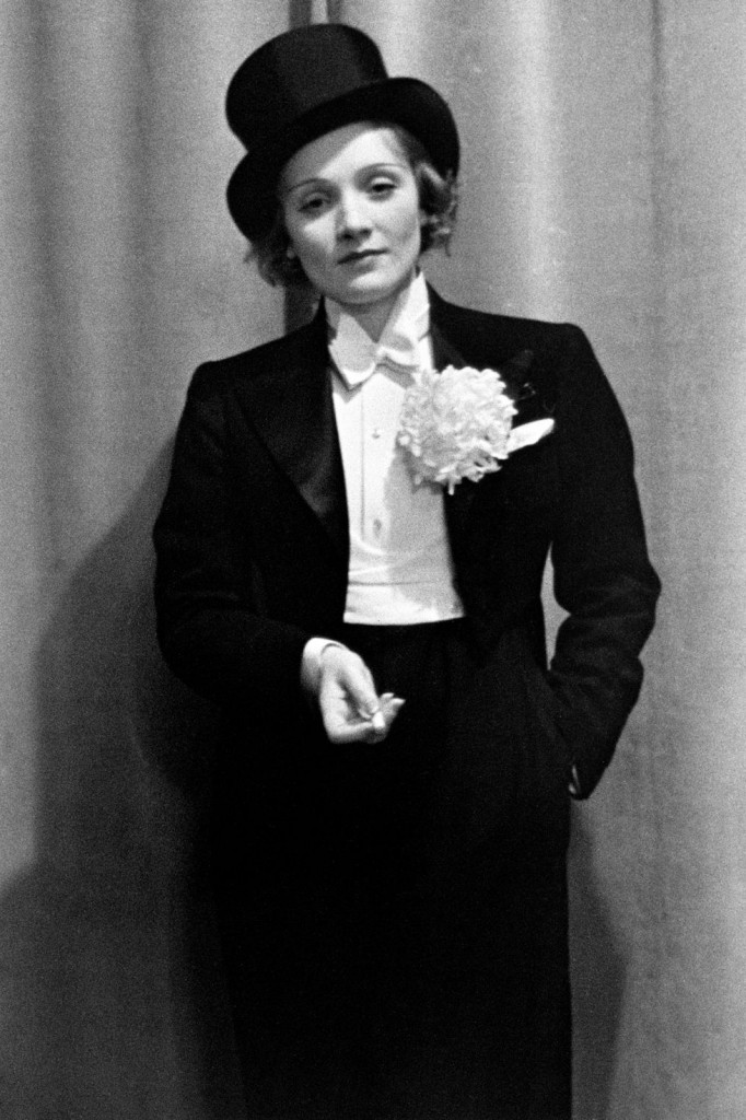Marlene Dietrich in a tuxedo (Photo Courtesy of Getty Images)