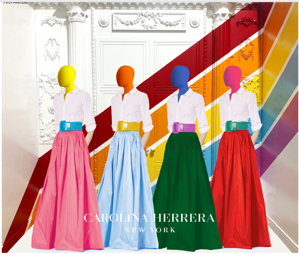 Carolina Herrera window for Saks Fifth Avenue                                       (Courtesy WWD August 17, 2018)
