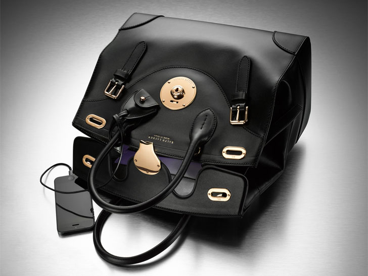 Ralph Lauren's Ricky Bag with a chargeable USB cable and an internal LED light  (Photo courtesy of Inhabitat)