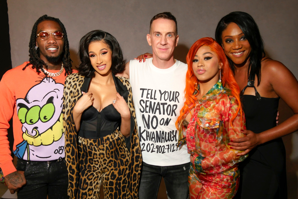 Backstage at Jeremy Scott's spring 2019 show. Left to Right: Offset, Cardi B, Jeremy Scott, Hennessy Carolina and Tiffany Haddish. (Photo Courtesy of WWD.Com)