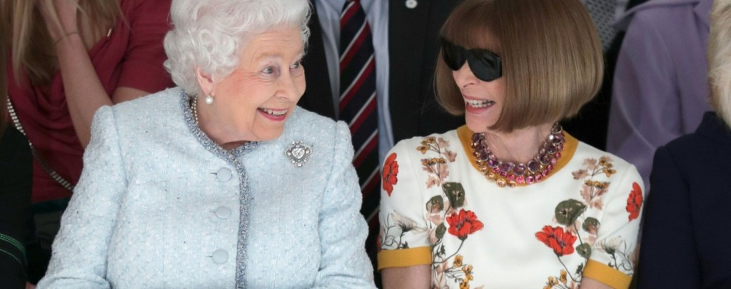Queen Elizabeth watches Richard Quinn's show with Anna Wintour at London Fashion Week Fall 2018  CREDIT AFP