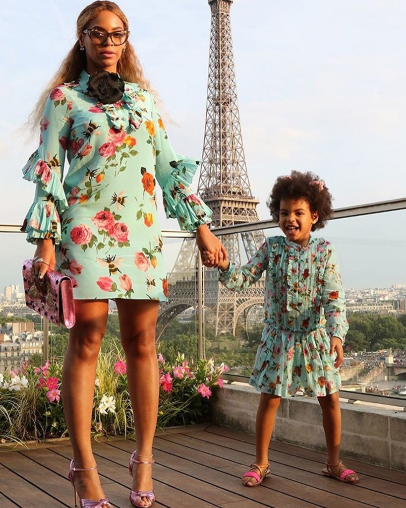 Beyoncé and Blue Ivy in matching Gucci  Source @beyonce