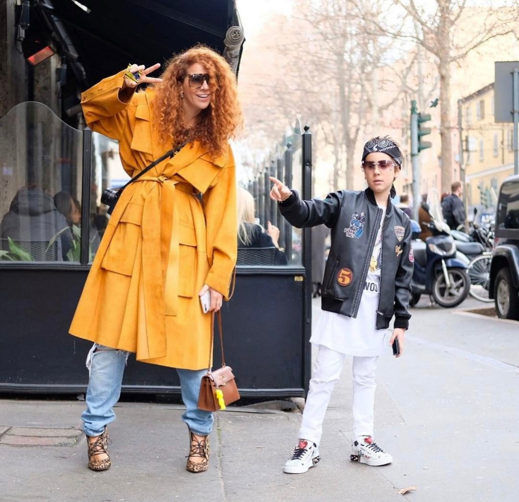 Designer Natasha Zinko Introduces Her Son Ivan to the Street Style Crew at Paris Fashion Week (Photo courtesy of Vogue)