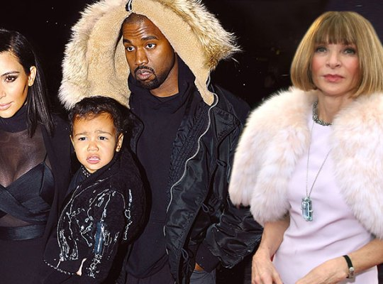 Kim Kadashian, North West, Kanye West and Anna Wintour during Fashion week in 2015 , (Photo courtesy of  AP)
