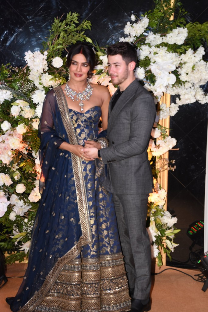 Priyanka Chopra Jonas and Nick Jonas in Sabyasachi at their Mumbai reception