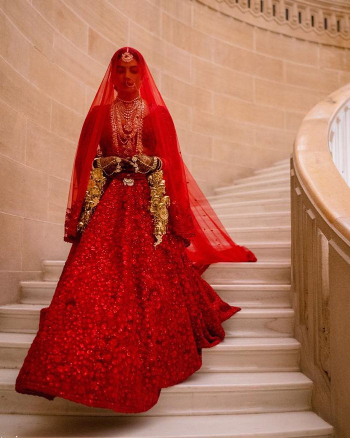 Priyanka Chopra Jonas in Sabyasachi and kalire by Mrinalini Chandra for the wedding (Photo courtesy of Vogue.com)