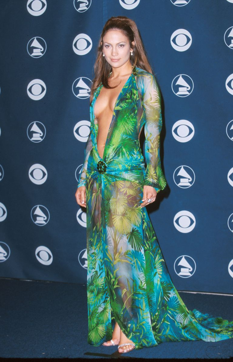 Jennifer Lopez wearing the iconic Palm leaf Versace dress to the Grammy Awards on Feb, 23, 2000