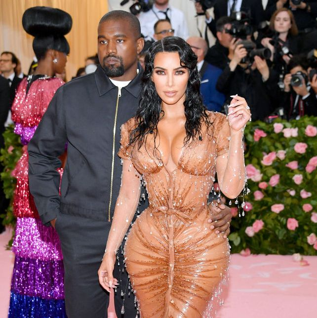 Kim Kardashian in Mugler with Kanye West in 2019. Photo Credit Getty Images