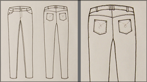 Jean Pants Flat Drawing