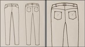 Jean Pants Flat Drawing