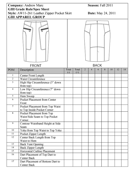 Spec Sheet – Skirt - University of Fashion