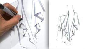 Drawing a Cascade Neck Ruffle