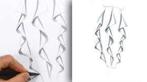 Drawing a Cascade Skirt Ruffle