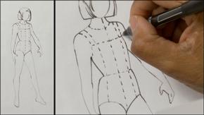 Ink Drawing Tween Girl Figure