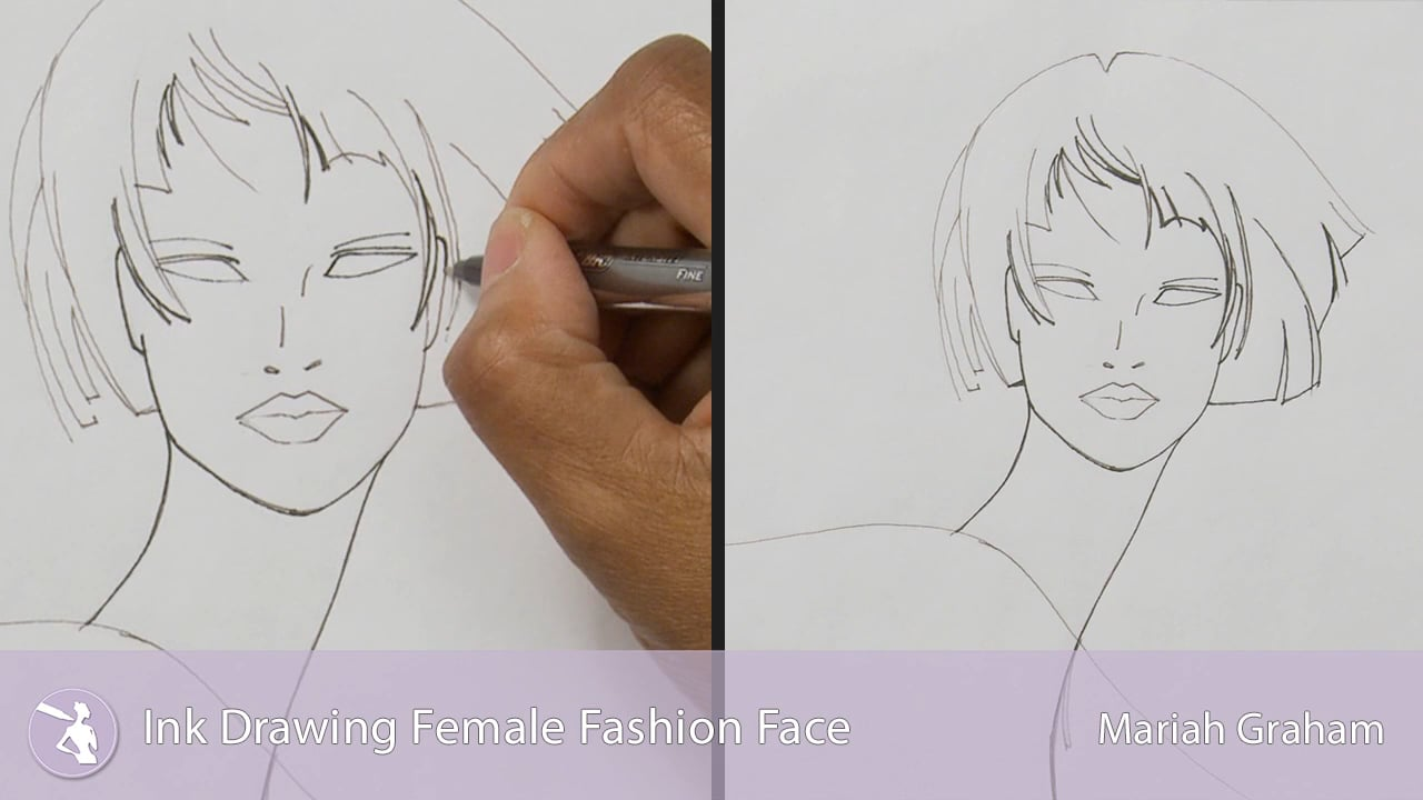 Line Drawing Female : Ink drawing female fashion face university of