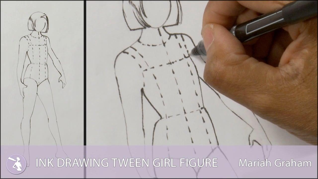 Ink drawing tween girl figure university of fashion jpg
