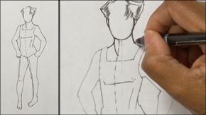 Ink Drawing Tween Boy Figure