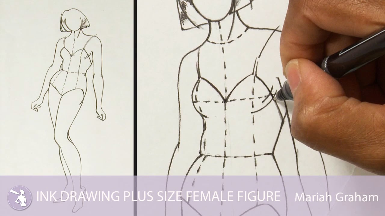 Line Drawing Female : Ink drawing plus size female figure university of fashion