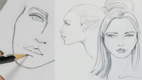 Drawing Female Head-Front, Profile, Three Quarter